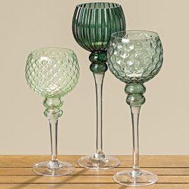 Набор подсвечников 3х зеленое стекло h30-40см 7057500