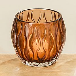 Подсвечник Элиза коричневое стекло h10см d8.5см 1009044