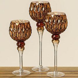 Подсвечник-бокал набор из 3-х коричневое стекло h30-40см 1009008
