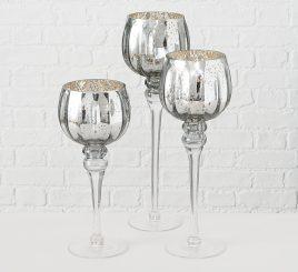Набор подсвечников 3х серебряное стекло h30-40см 1008802