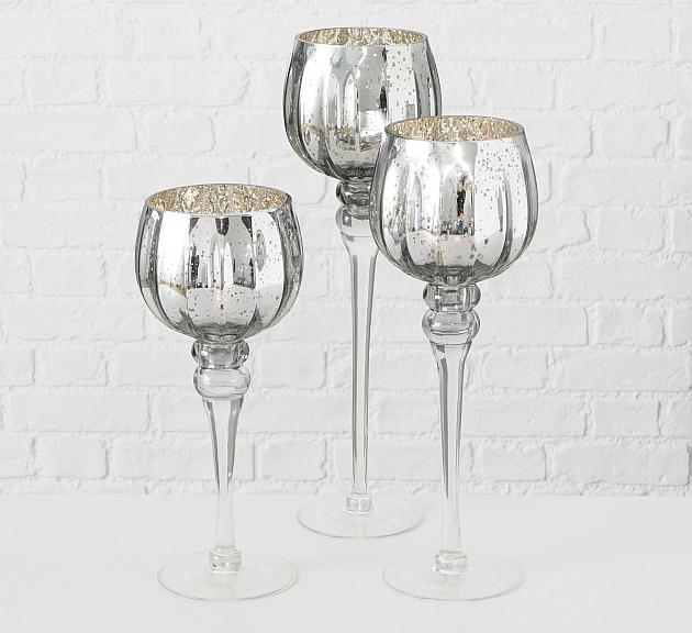 Набор подсвечников 3х серебряное стекло h30-40см