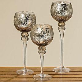 Набор подсвечников серебряное стекло 3х h30-40см 1005603