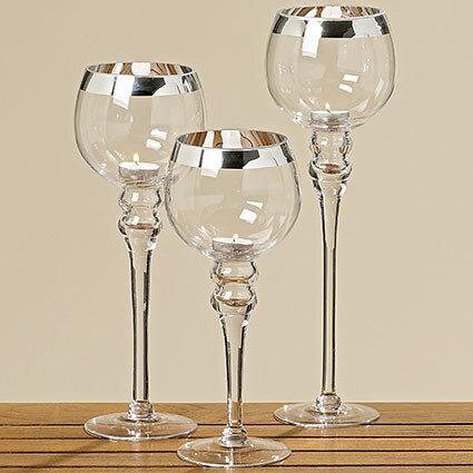 Набор подсвечников 3х прозрачное стекло h30-40см 1005605