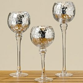Набор подсвечников 3х серебряное стекло h25-35см 7418900