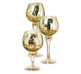 Набор подсвечников 3х золотое стекло h20-30см 1009009