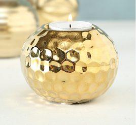 Подсвечник золотая керамика h7см d9см