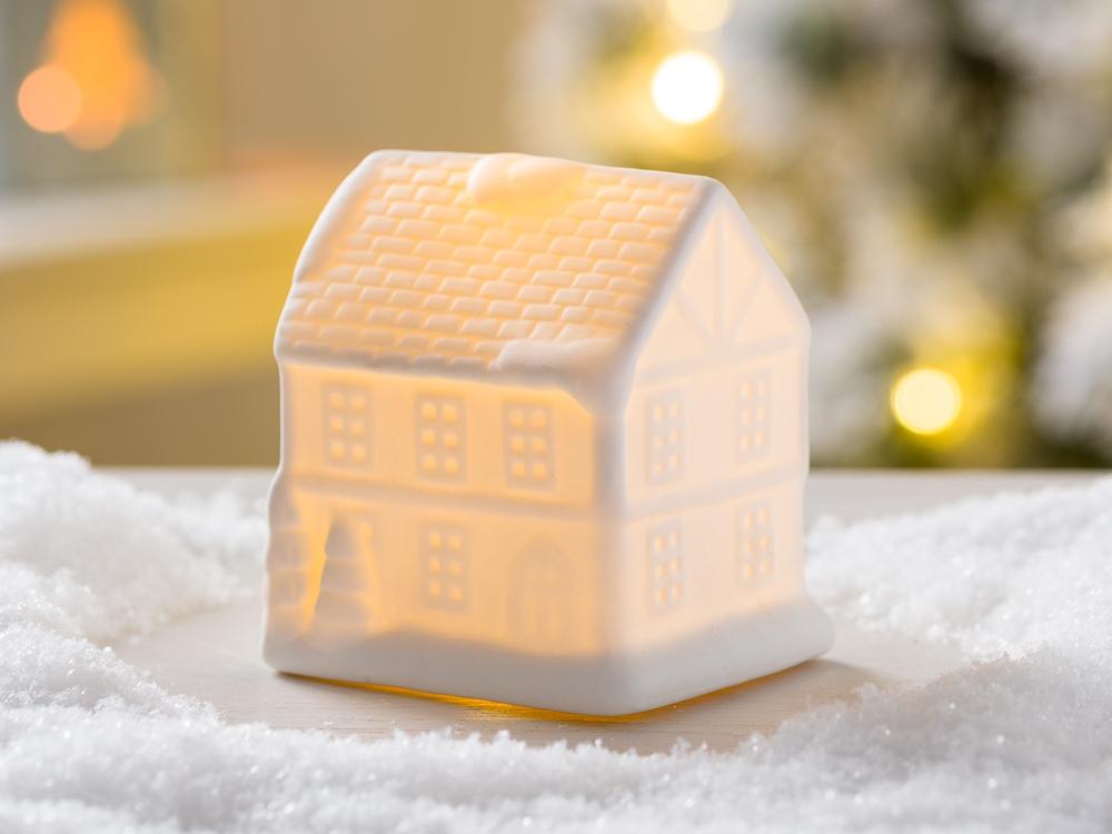 Led ночник Домик белая керамика d10см 1008478
