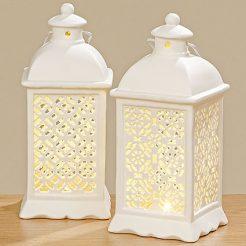 Светодиодный фонарь белая керамика h20см
