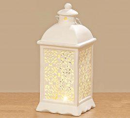 Светодиодный фонарь белая керамика h20см 1010121