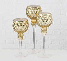 Набор подсвечников 3х золотое стекло h30-40см 1008796