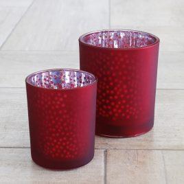 Набор подсвечников 2х красное стекло h8-10см 1007059