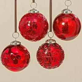 Подвесной шар набор из 4х шт красное стекло d8см 1006380