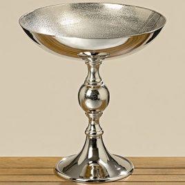 Деко-чаша на подставке серебряный металл h44см 8219700