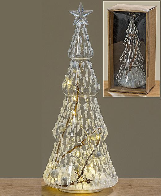 Led ночник елка прозрачное стекло h22см 1008775