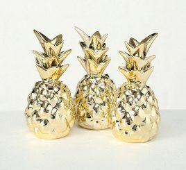 Декор ананас золотая керамика h11см