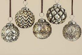 Подвесной шар набор из 5 шт серебряное стекло d7см 1006363