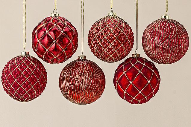 Подвесной шар узор набор из 6х шт красное стекло d10см 1007011