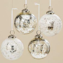 Подвесной шар зима набор из 4х шт цветное стекло d7см 1006389