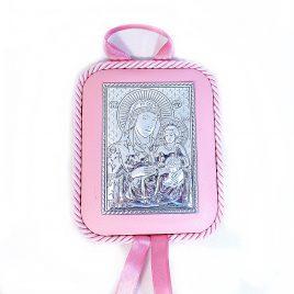 Икона Святая Мария с младенцем на подушечке
