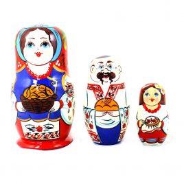 Матрёшка 3-х девочка украинка 10 см