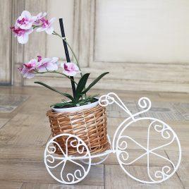 Подставка под вазон велосипед с корзиной из лозы 18 см 675431