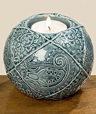 Подсвечник шар цветная керамика h8см 1002599