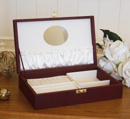 Шкатулка для ювелирных украшений  25*15*5,6 603411 бордовая