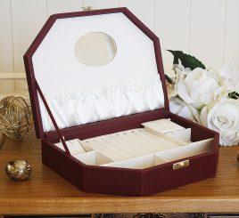 Шкатулка трапеция для ювелирных украшений  26*19*5,6 603440 бордовая