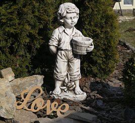 Садовая скульптура Мальчик с цветочным горшком 30.5×24.5×65.5cm SS12141-58