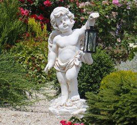 Садовая фигура Ангел с фонарем + LED 81х38х26 см ССК12208