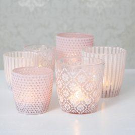 Набор 2х подсвечников h7-9см  розовое стекло 1011517