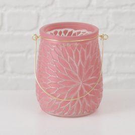 Подсвечник розовый h14см лакированное стекло 1014236