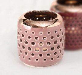 Подсвечник h9.5см розовая керамика 1017978