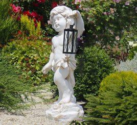 Садовая фигура Мальчик с фонарем + LED 81х38х26 см ССК12208-1