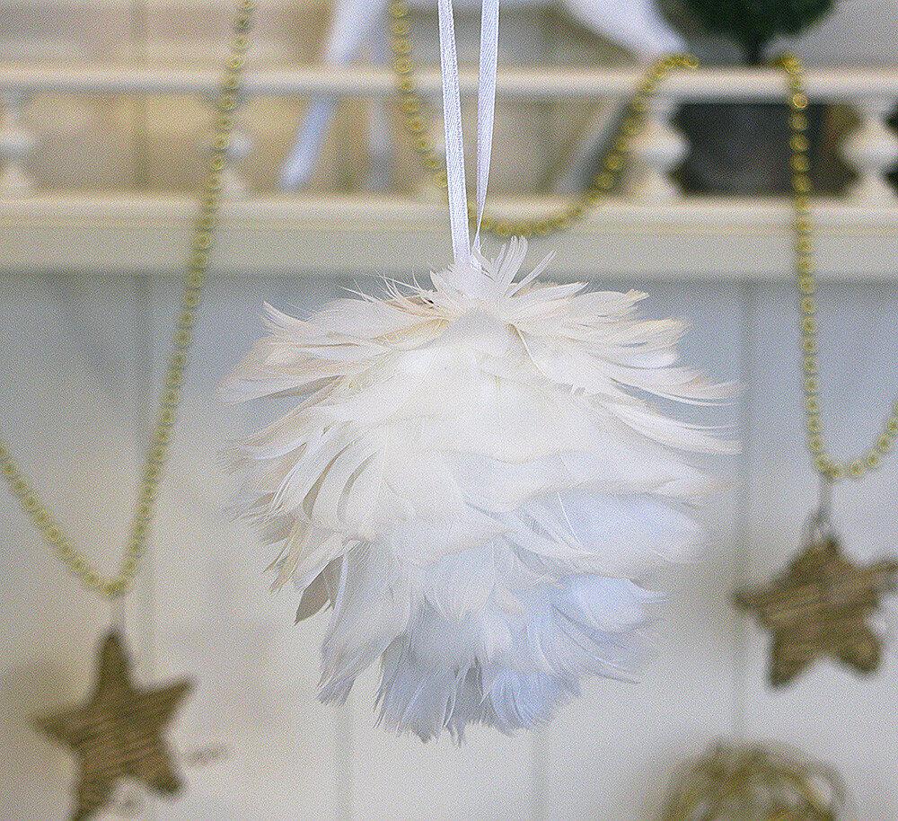 Новогодняя подвеска перьевая круглая d11см 1000735-1 белая