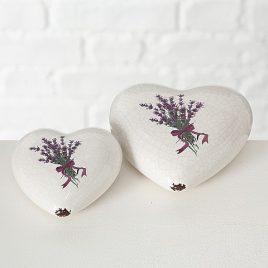 Набор 2х декоративное сердце с лавандой белая керамика 1002086