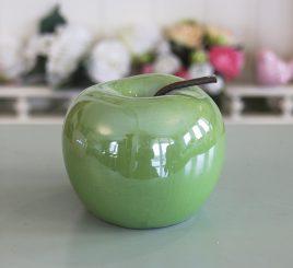 Декоративное яблоко зелёная керамика h11см перламутр 1006133-1 зелёный