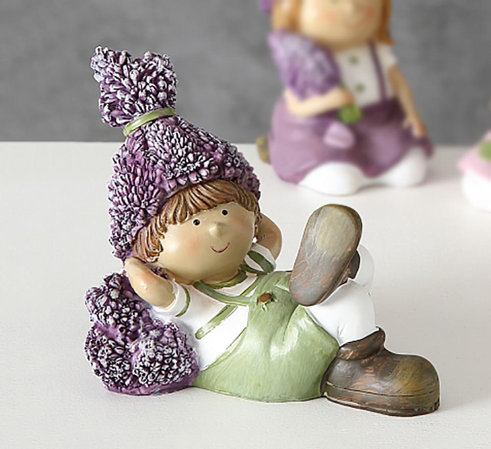 Статуэтка ребенка Лаванда розовое платье h15см 1003610-1Р