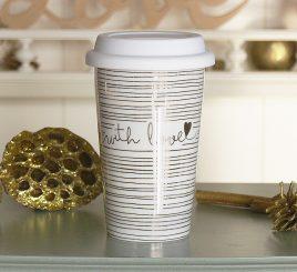 Чашка с крышкой золотая с Любовью керамика полоса 1020340-1П