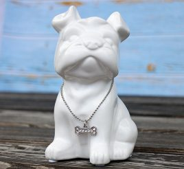 Копилка собачка Бостонский терьер белая керамика h13см 4506700-4бост-терьер