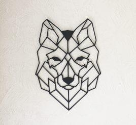 Голова волка декор на стену дерево 50 см чёрный 41