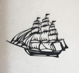 Настенный декор корабль дерево 75 см чёрный 76