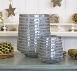 Набор подсвечников 2х серебристое стекло h11-20см 1002205-2 серебро