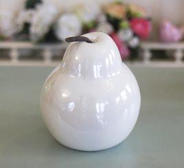 Декоративная груша белая керамика h11см перламутр 1006133-3 белый