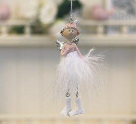 Декоративная подвеска новогодний Ангел h10см розовый 1016568-2 сердечный