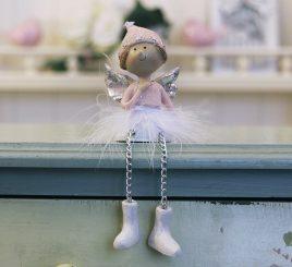 Декоративная новогодняя статуэтка Ангел h7см розовый 1016569-2 сердечный