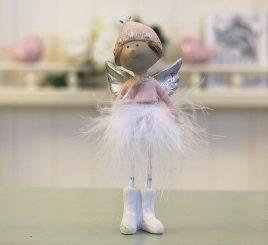 Декоративная статуэтка новогодняя игрушка Ангел h14см 1016570-2 сердечный