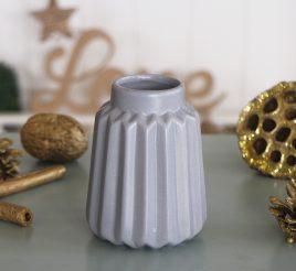 Ваза керамическая рельефная серая h10см 1021208-2 серый