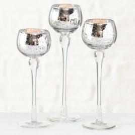 Подсвечник-бокал набор из 3-х серебристое стекло h18-22см 1015744