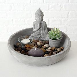 Дзен набор Будда со свечами d25см серый 8057700